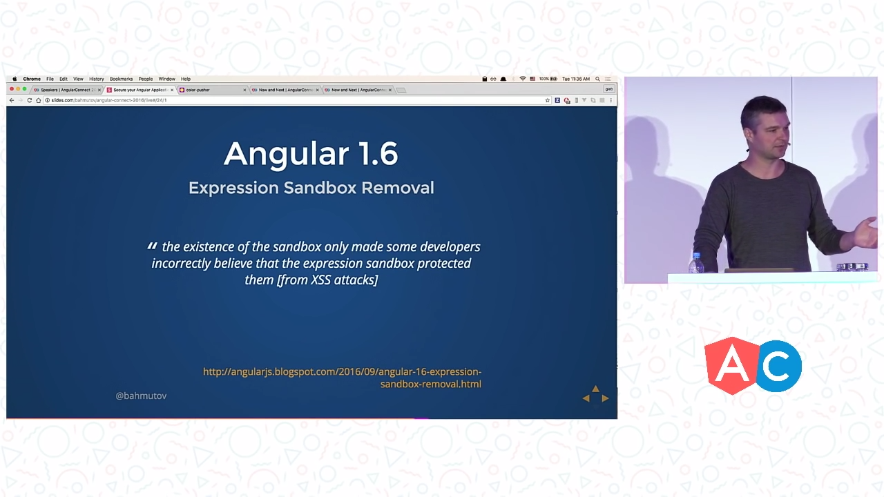 Slide stating the removal of sandboxing in Angular 1.6