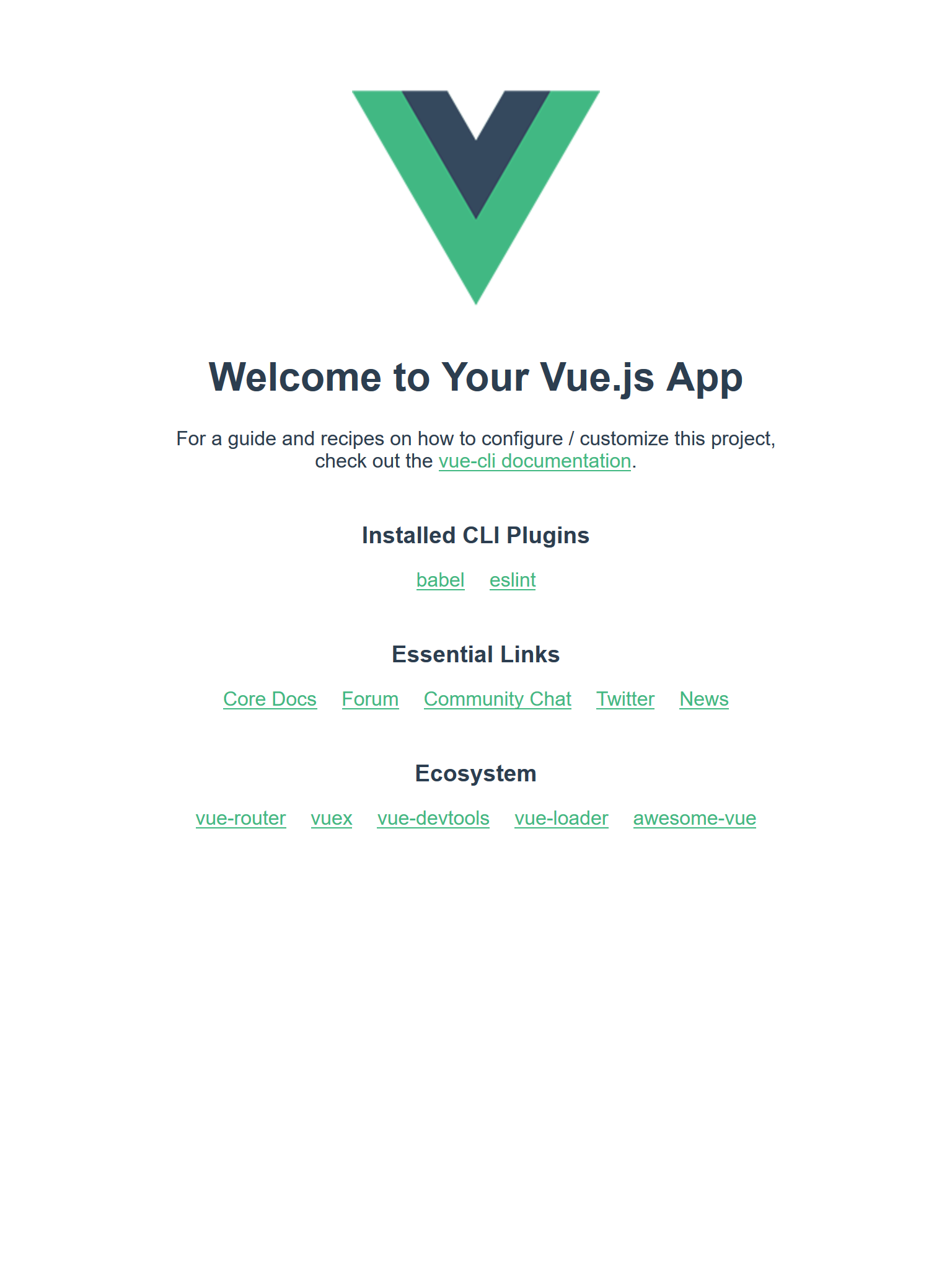 Screenshot of a new Vue project running in the browser