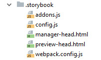 Screenshot of `.storybook` folder containing the files: addons.js, config.js, manager-head.html, preview-head.html and webpack.config.js