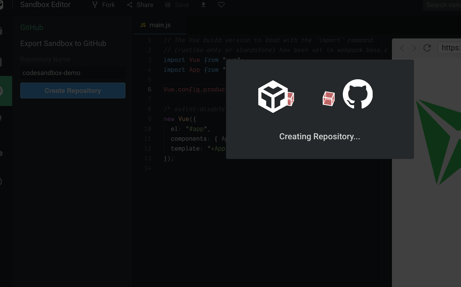 Screenshot showing the creating of a Github repository from within Codesandbox