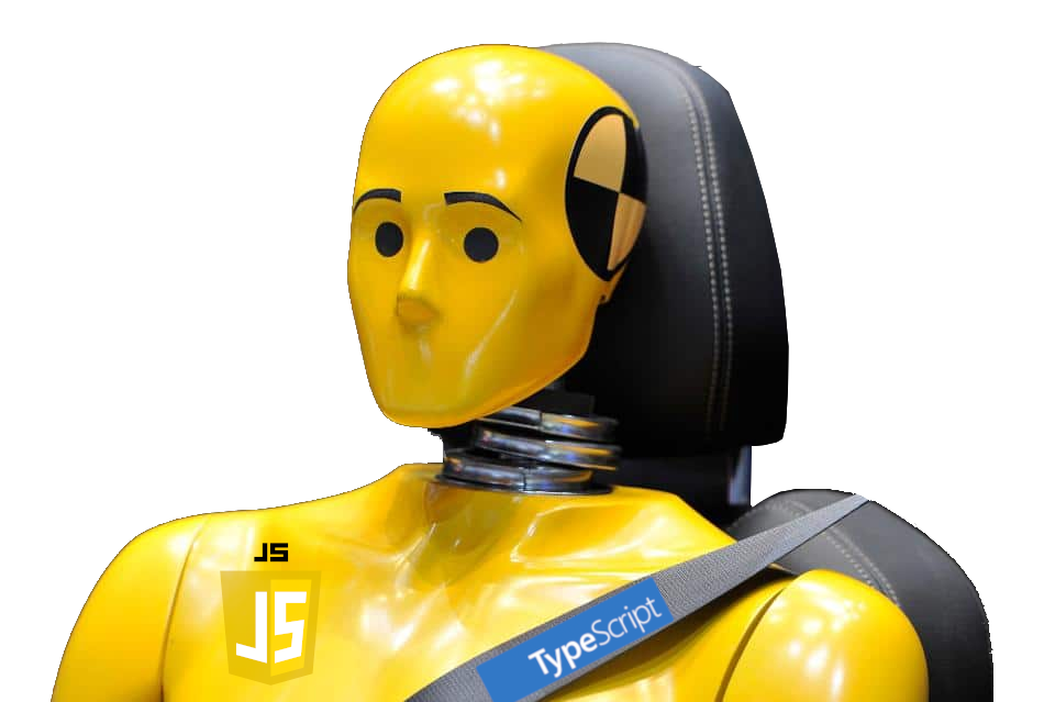 yellow crashtest dummy with js badge and typescript on its seatbelt